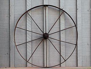Old Vintage Antique Primitive Steel Spoke Wagon Cart Implement Wheel Farm Decr A photo