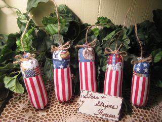 5 Patriotic Fabric Firecracker Ornies Bowl Fillers Handmade American Home Decor photo