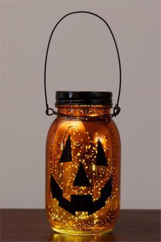 Pumpkin Mercury Glass Jar With Led Lights / Fall Decor photo