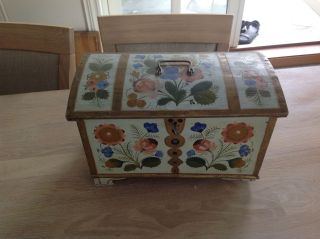 Old Norwegian Box Or Casket With Rosemaled Os Painting photo