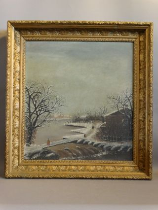 19thc Antique Victorian Winter Folk Art Snow Scene Landscape Oil Painting Frame photo