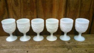 Milk Glass Dessert Cups Antique Vintage Primitive Collectible Kitchen Decor photo