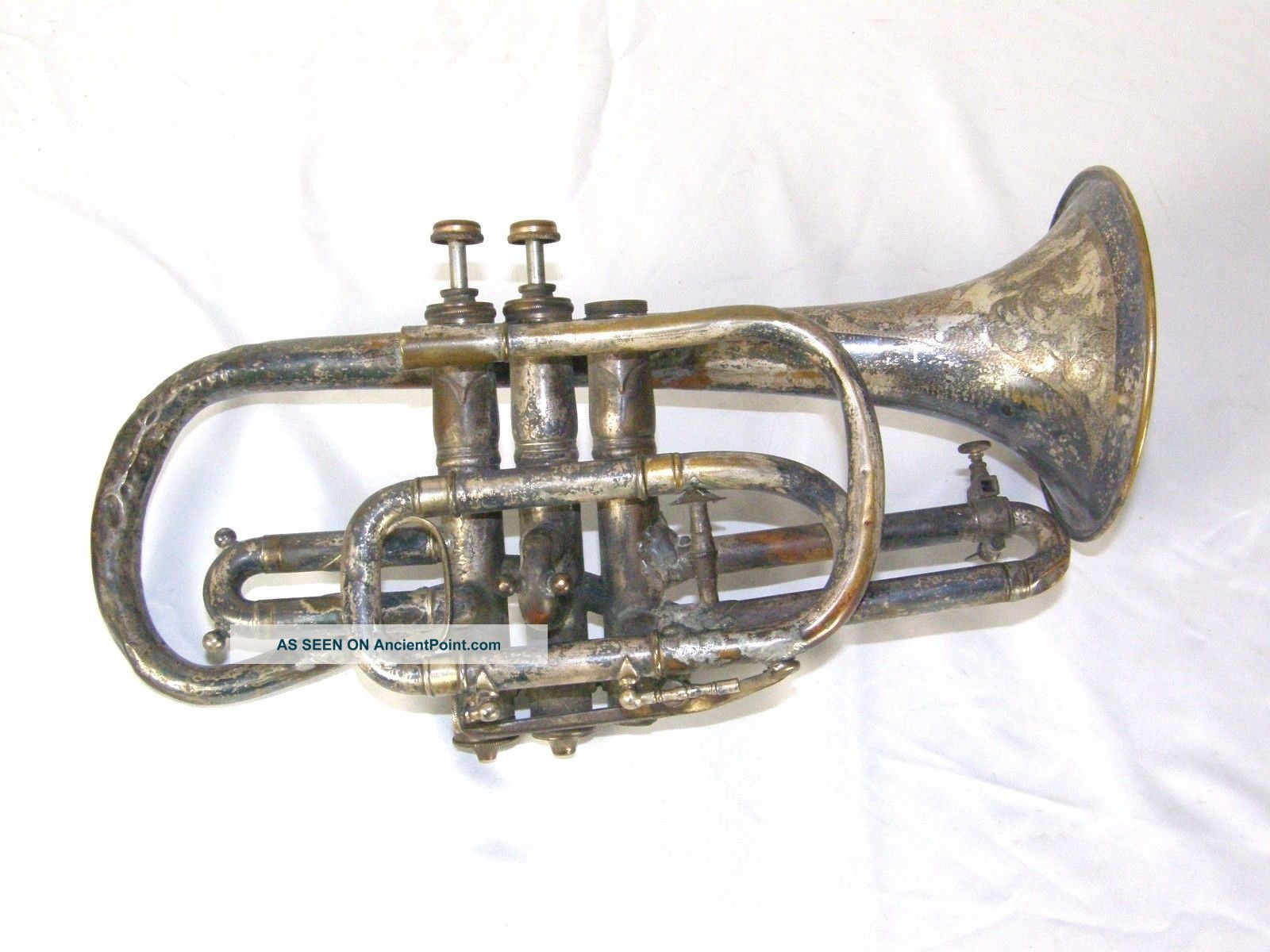 Antique 1896 C.  G.  Conn Elkhart In Worcester Massachusetts Cornet Brass photo