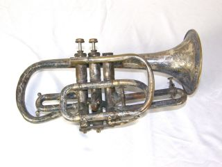Antique 1896 C.  G.  Conn Elkhart In Worcester Massachusetts Cornet photo