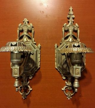 Rare 1920s Vtg Isco Art Deco Electric Wall Sconce Fixtures Lamps photo