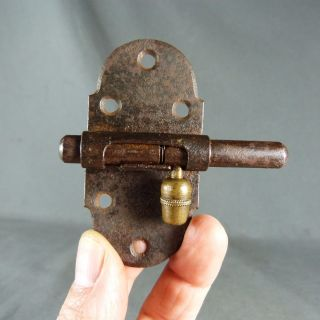 French Antique,  Iron & Brass Slide.  Bolt Latch Lock Rustic,  Handmade photo