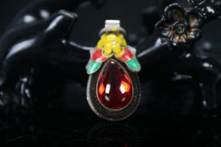 Old Decorated Handwork Miao Silver Carving Flower Inlay Zircon Pendant E818 photo