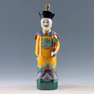 Chinese Famille Rose Porcelain Painted Emperor Yongzheng Statue photo