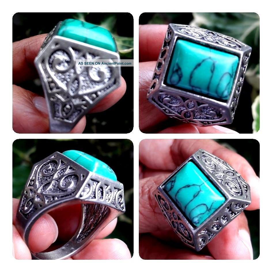 Old Rare Ancient Muslim Isalam Intaglio Write Ring Turquoise Agate Stone 11.  5 Near Eastern photo