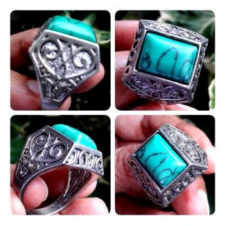 Old Rare Ancient Muslim Isalam Intaglio Write Ring Turquoise Agate Stone 11.  5 photo