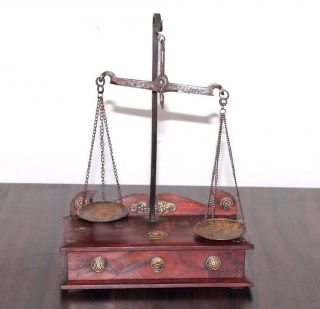 1900 ' S Old Antique Gold Smith Jewelry Weight Balance Brass Scale With Wooden Box photo