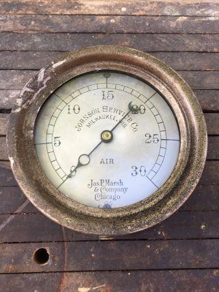 Antique Brass Industrial Jas P.  Marsh & Company Air Gauge - | 6