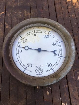 Antique Brass Industrial Ashcroft Manufacturing Company Gauge | 7 - 3/8