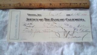 1903 Check Comstock Virginia Nevada Savage Mining Co Agency Bank Of California photo