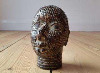 African Tribal Ife Bronze King (oba) Head Figure Nigeria photo