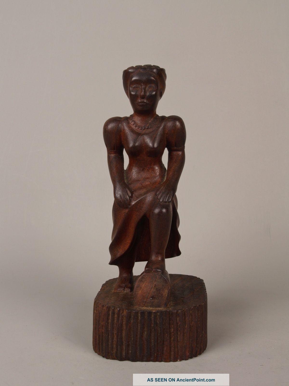An Unusual Antique Cuban Carved Wood Female Figure. Latin American photo