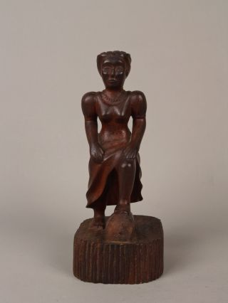 An Unusual Antique Cuban Carved Wood Female Figure. photo