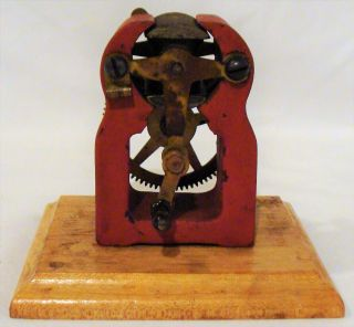 120 Year Old Iron Steel & Wood Antique Toy Hand Crank Motor Electric Generator photo