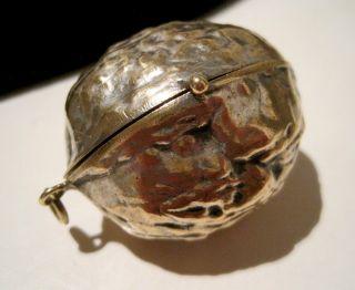 Rare Antique Victorian Bronze Walnut Compact Needle Case Chatelaine Etui C1850 photo