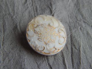 Antique Victorian China Glass Button Flowers And Gold Gilted 324 - A photo