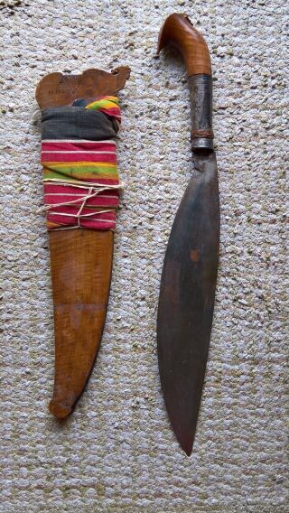 Antique Filipino Moro Philippines Islamic Silver Mounted Sword.  Barung,  Barong photo