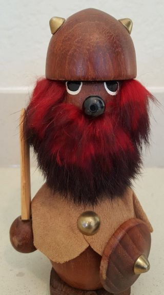 Vintage Mid - Century Danish Modern Teak Wood & Fur Viking Warrior Figure photo