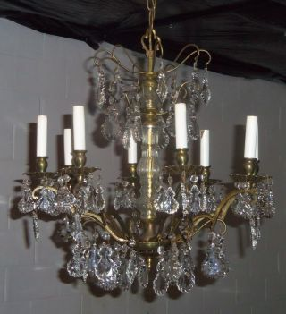 Vintage French Style Crystal Directoire Chandelier 8 Light photo