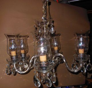 Vintage Cut Glass Chandelier 5 Arms W Cut Prism Drops Waterford Style photo