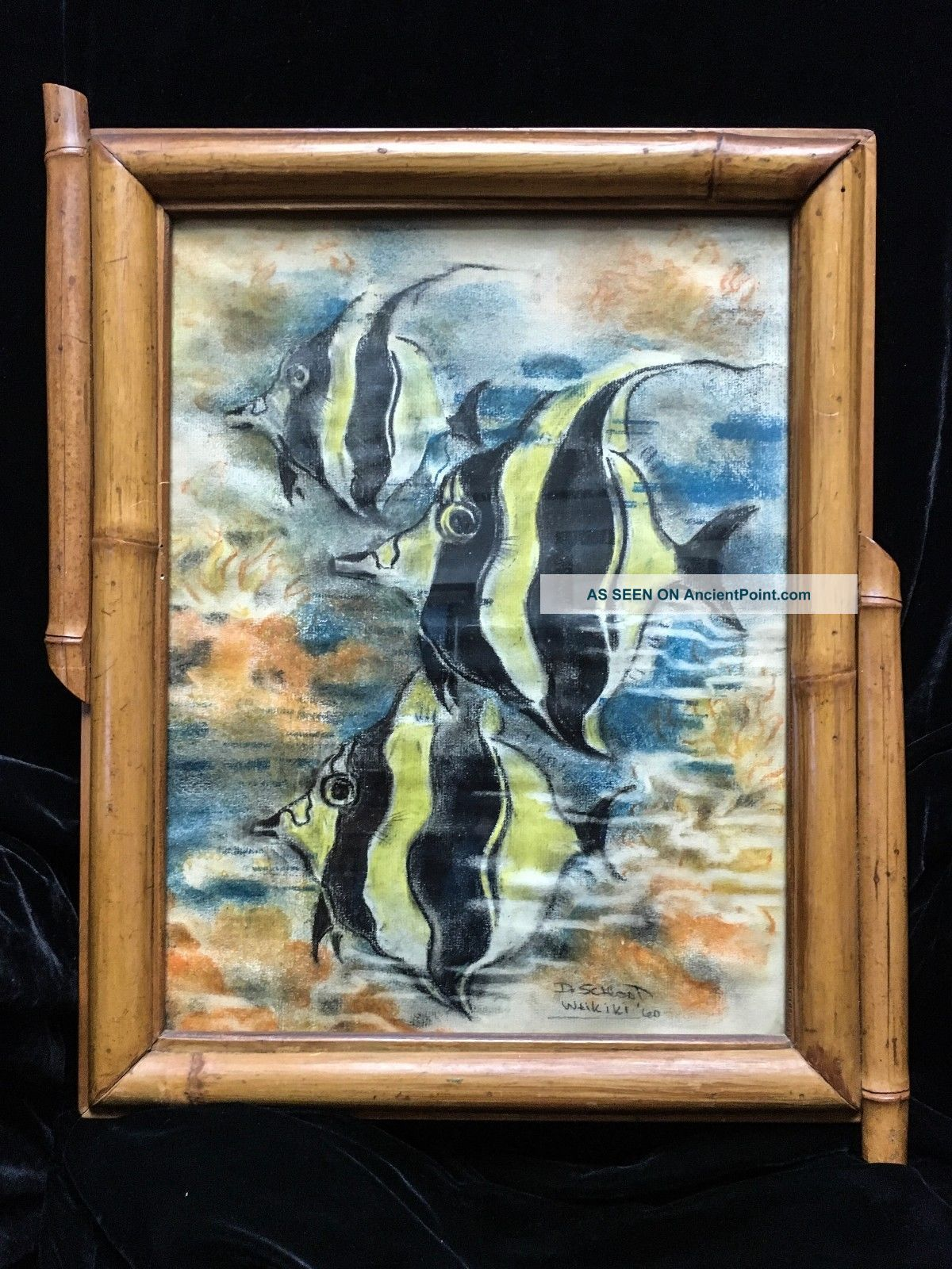 Spectacular 1960s Painting Of Hawaiian Kihikihi Signed