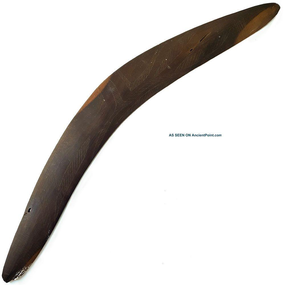 A Fine Antique Australian Aboriginal Boomerang Club Engraved Surface Pacific Islands & Oceania photo