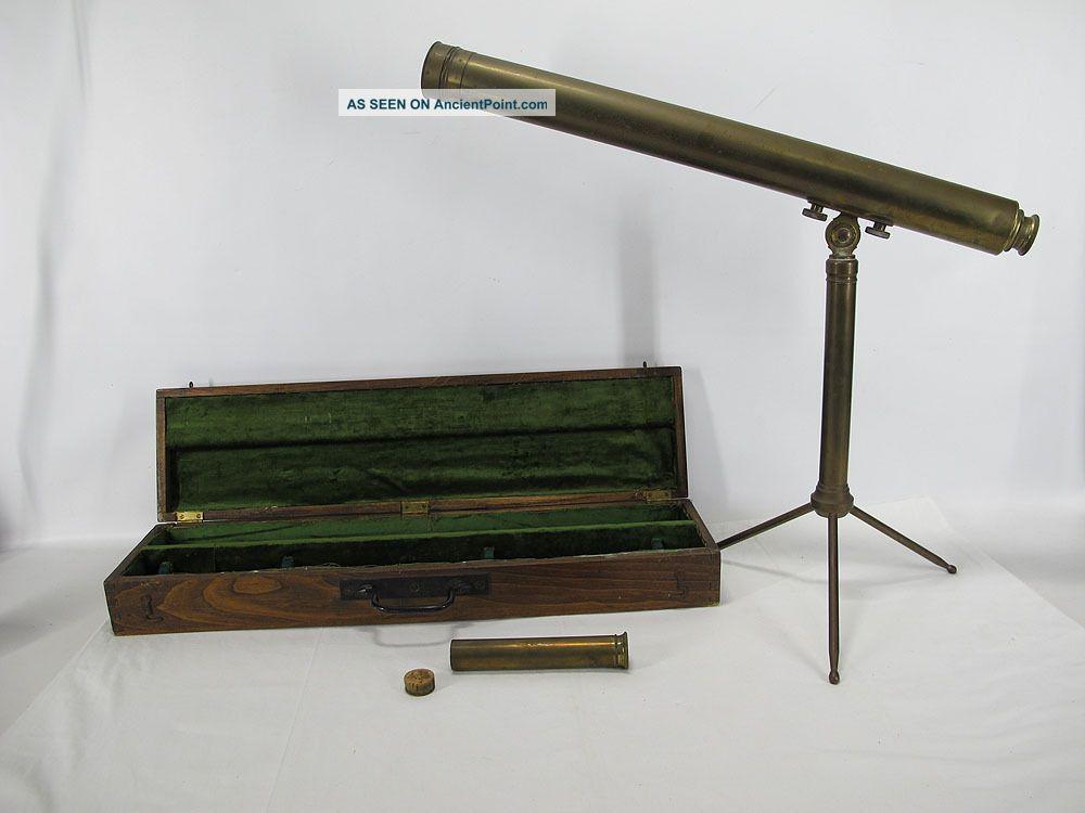 Antique C 1899 French Desk Top Single Draw Emil Bruno Meyrowitz Telescope Yqz Telescopes photo