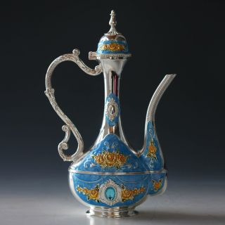 Chinese Cloisonne Handwork Carved Flowers Inlaid Zircon Teapot photo