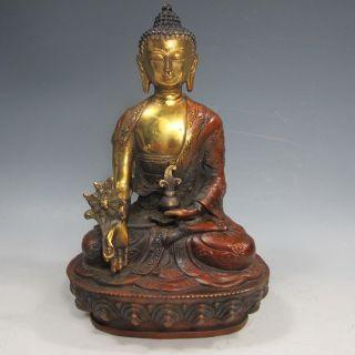 Old Tibetan Brass Buddhism Bodhisattva Sakyamuni Buddha Statue photo