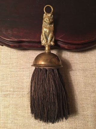 Antique Vtg Brass Natural Bristle Figural Cat Handle Fireplace Hearth Ash Brush photo