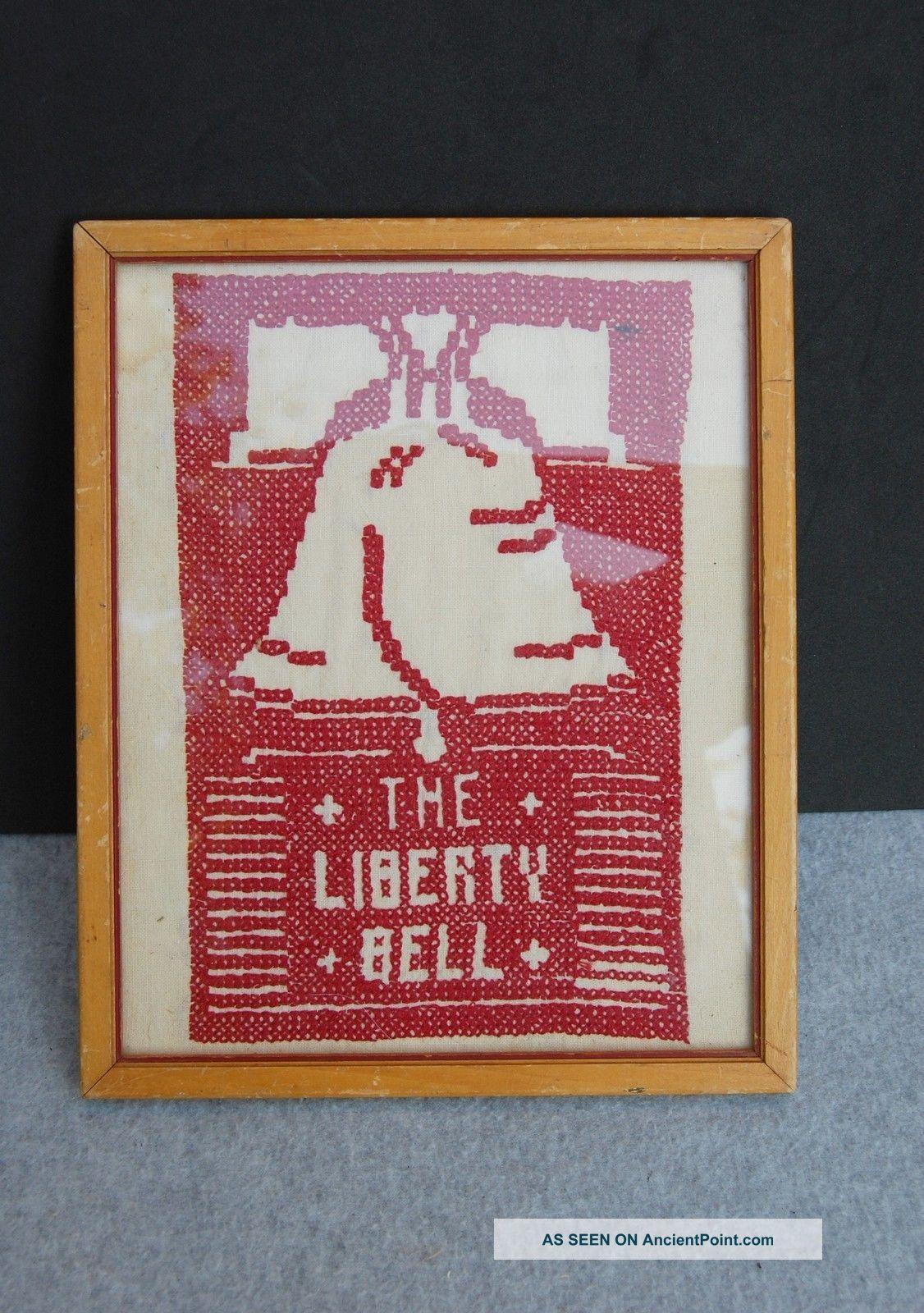 Liberty Bell Sampler Cross Stitch Vintage Red On White Framed 10