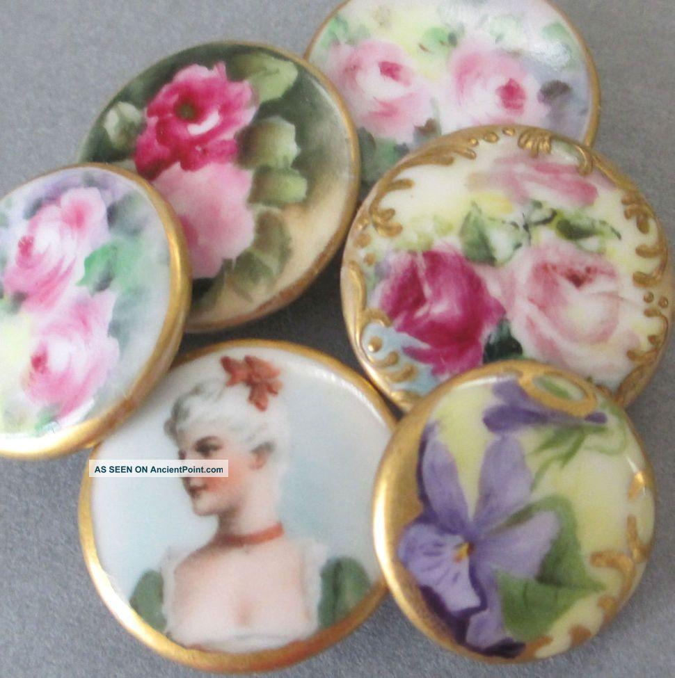 6 Antique Hp Limoges Porcelain Button Studs Portrait Lady Roses Violets Gilt Trm Buttons photo