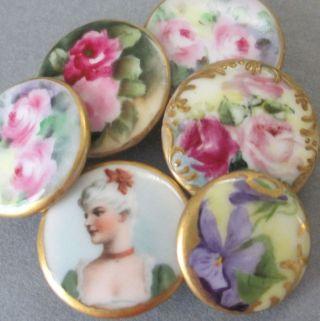 6 Antique Hp Limoges Porcelain Button Studs Portrait Lady Roses Violets Gilt Trm photo