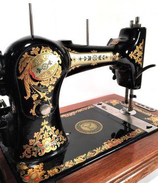 Collier No 4 Jones Hand Crank Sewing Machine W Coffin Case Gold Decals photo