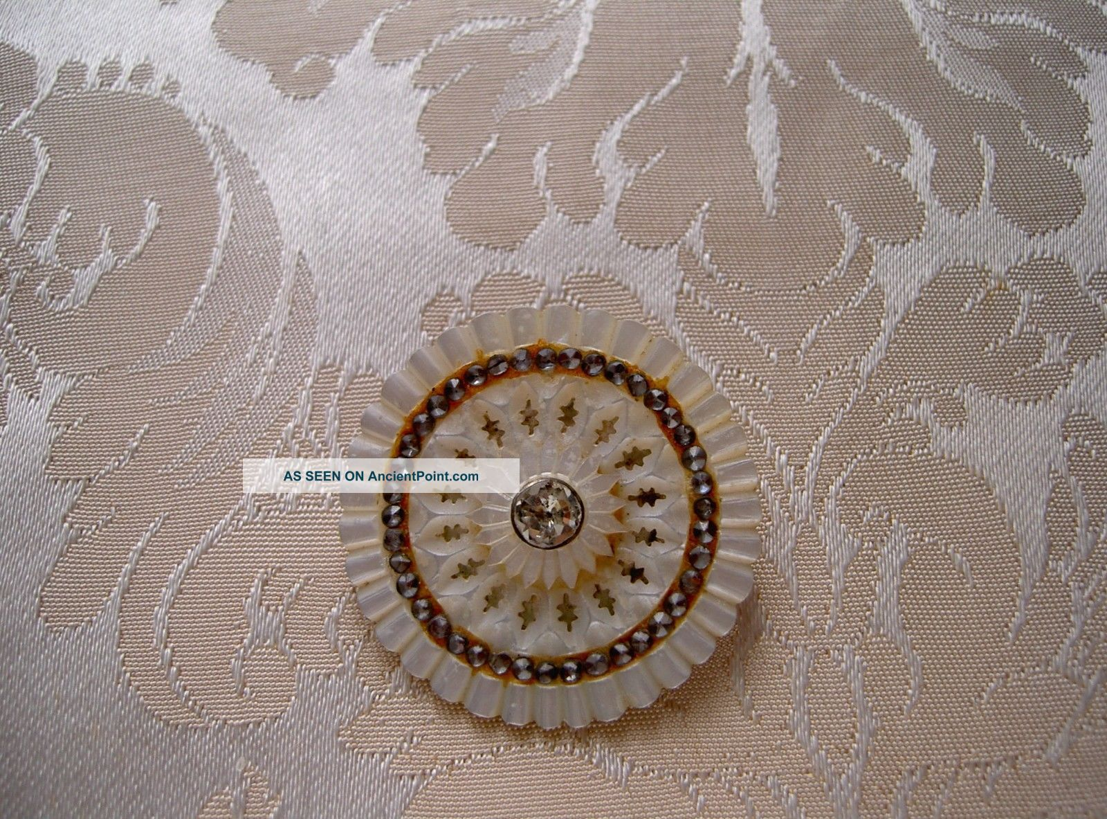 French Mother Of Pearl Button With Strass 18 Th Century Diameter 1.  456 Inch Buttons photo