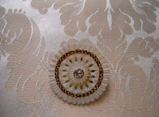 French Mother Of Pearl Button With Strass 18 Th Century Diameter 1.  456 Inch photo
