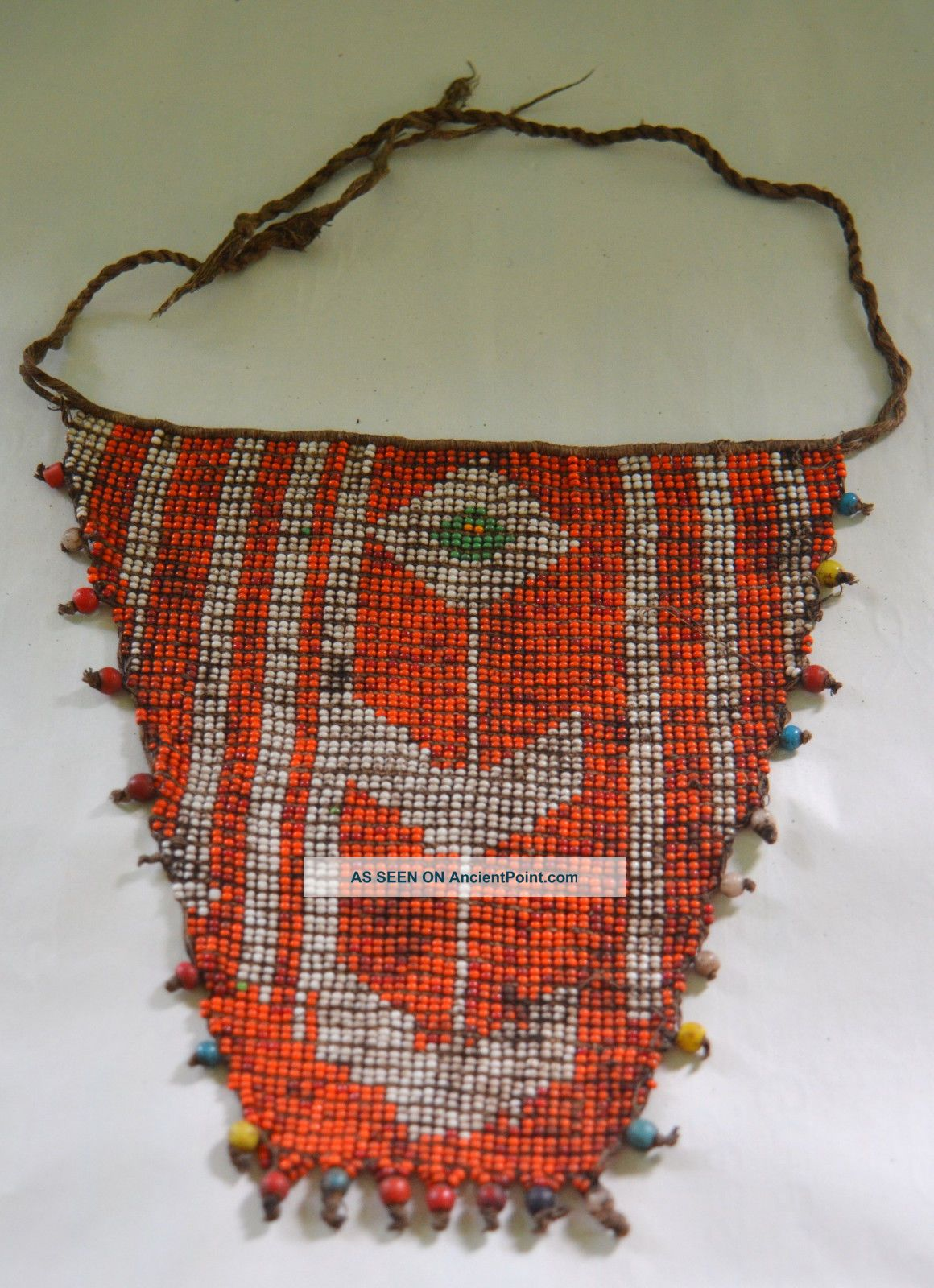 Very Old Kirdi Glass Beaded Triangle Panel Apron Cache Sexe Cameroon African photo