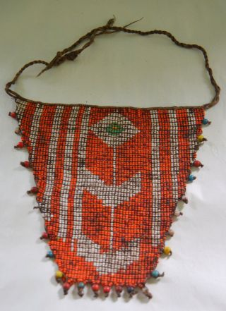Very Old Kirdi Glass Beaded Triangle Panel Apron Cache Sexe Cameroon photo