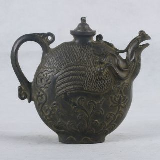 Chinese Bronze Handwork Carved Phoenix&cover Teapot Qt036 photo