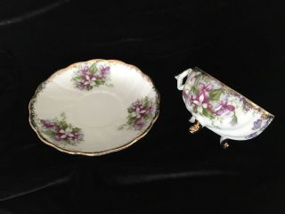 Vintage Old Trimont Ware China Hand Tea Cup With Feet And Saucer Japan Rare photo