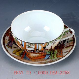 Chinese Famille Rose Porcelain Hand Drawn Character Dish & Cup Qw0380 photo