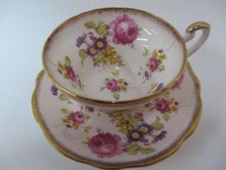 E.  B.  Foley Teacup & Saucer Pink Chintz Style photo