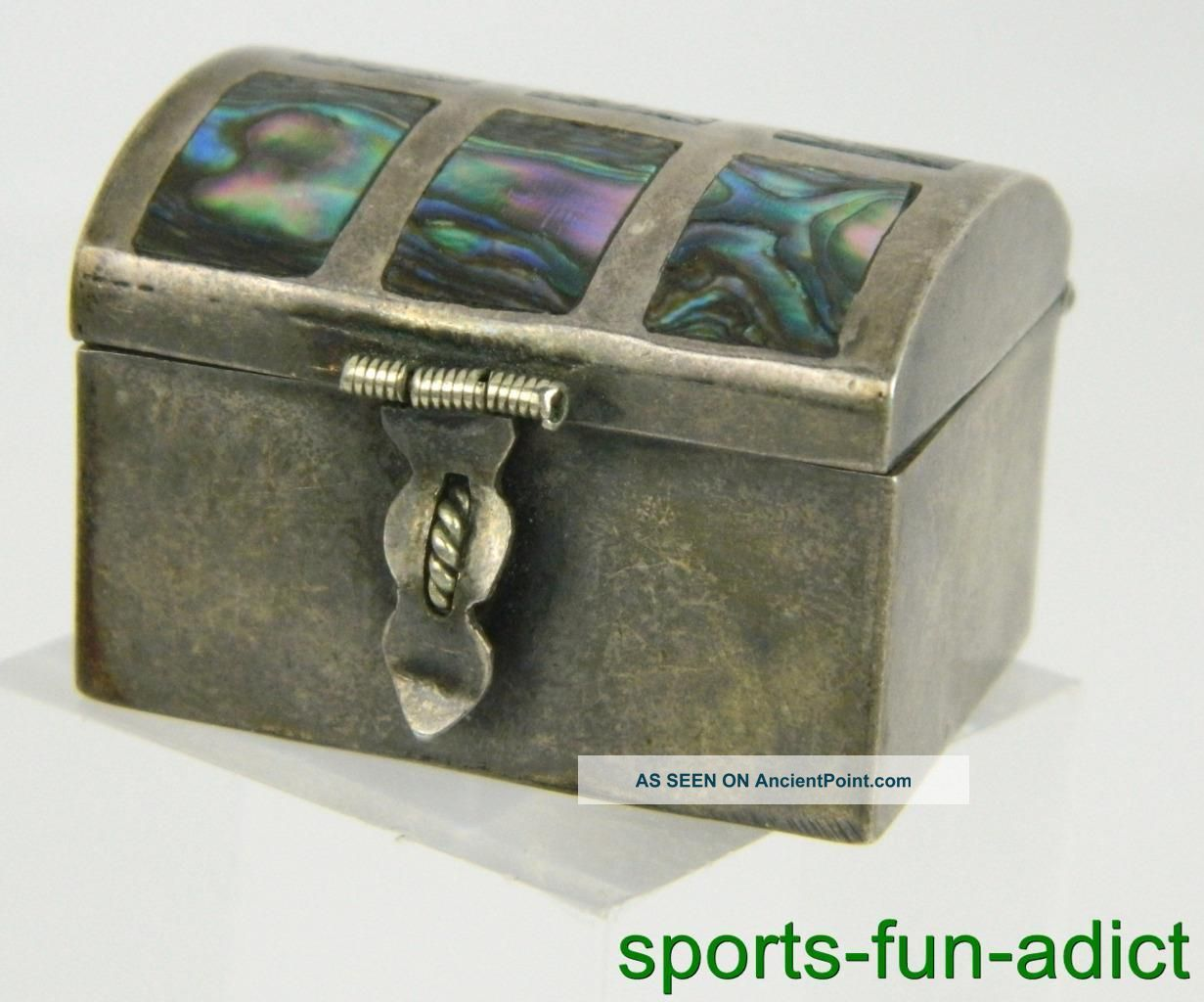 Vtg By Chj Mexico Iguala Sterling Silver Inlay Abalone Trinket Snuff Pill Box Other Antique Sterling Silver photo