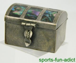 Vtg By Chj Mexico Iguala Sterling Silver Inlay Abalone Trinket Snuff Pill Box photo
