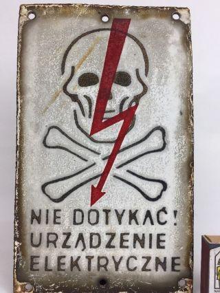 Antique Warning Sign ' High Voltage ' Made In Poland Porcelain Sign Skull Motif photo