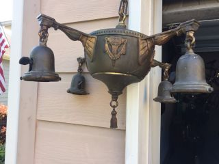 Antique Vtg 1920 ' S - 30 ' S Brass 4 Arm Hanging Light Fixture Chandelier Art Deco photo